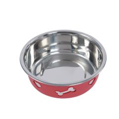 WeatherBeeta Non-Slip Stainless Steel Silicone Bone Dog Bowl