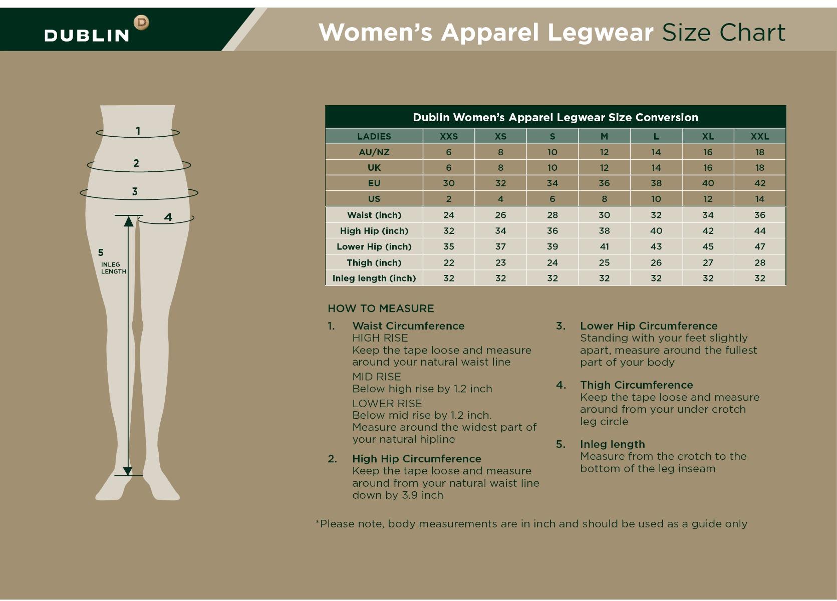 dublin legwear womens size guide