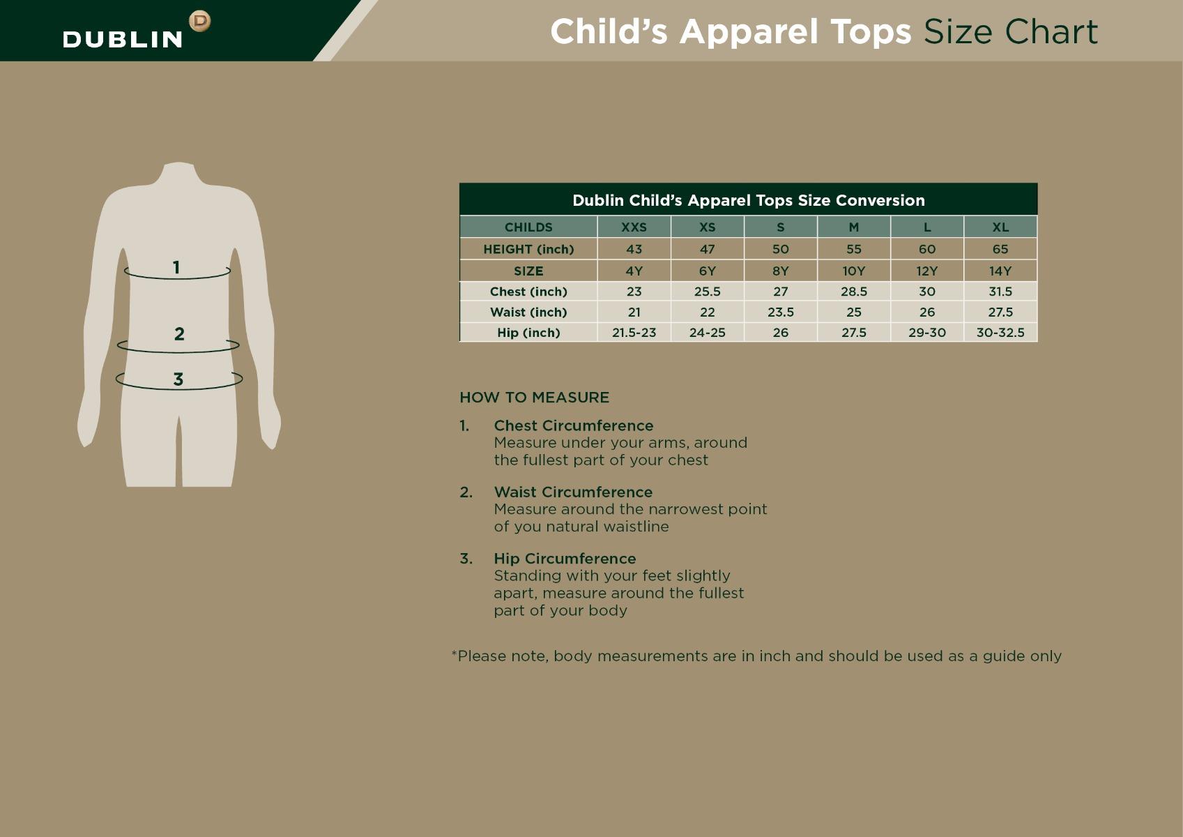Children's Apparel Size Guide
