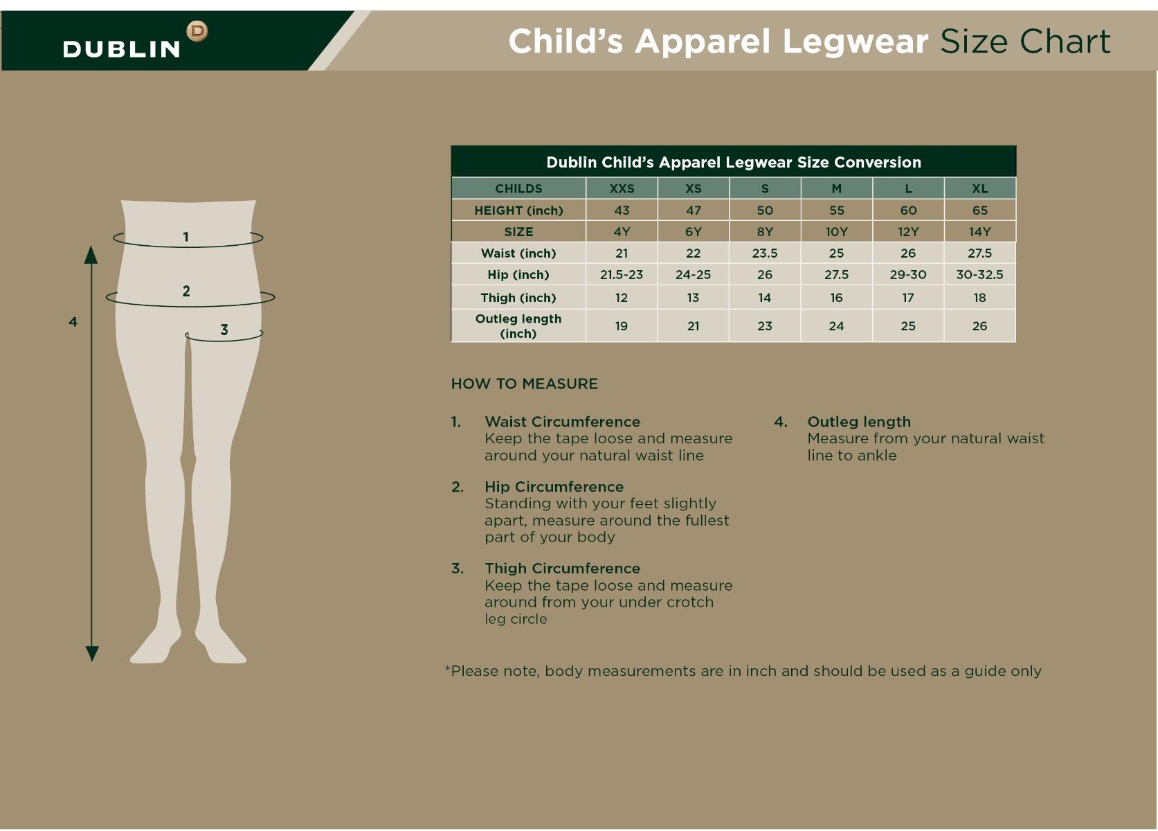 Children's Legwear Size Guide