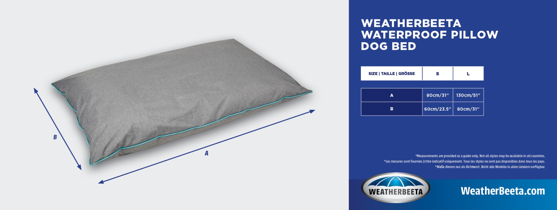 WeatherBeeta Waterproof Pillow Dog Bed Size Chart