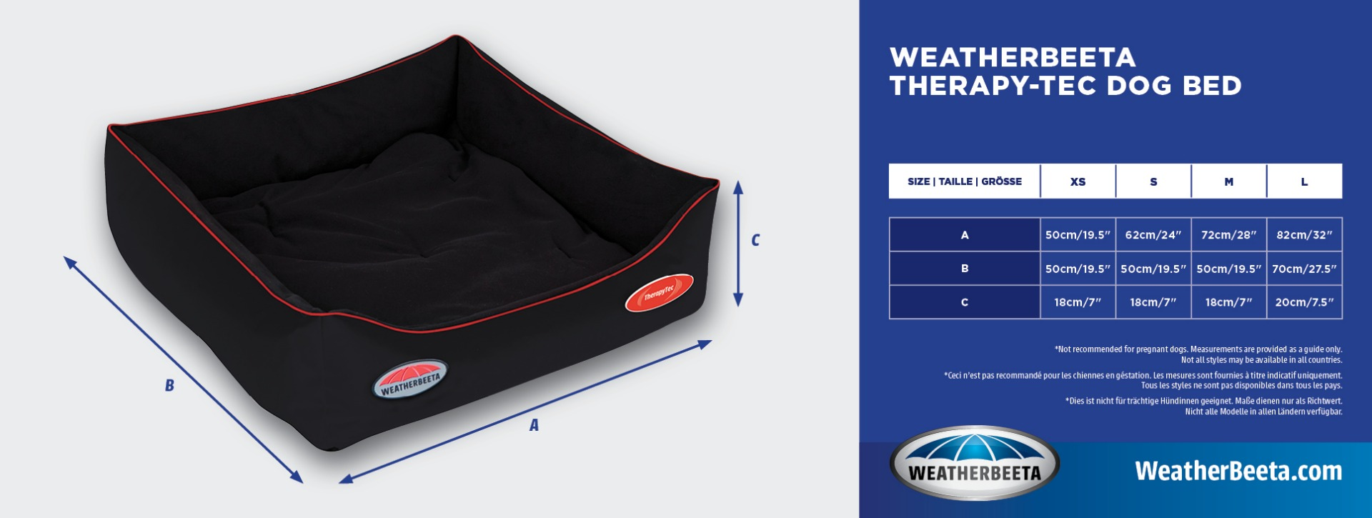 WeatherBeeta Therapy-Tec Dog Bed Size Chart