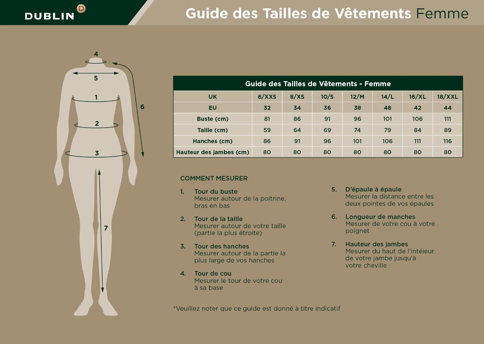 Guide des Tailles de Vêtements Femme
