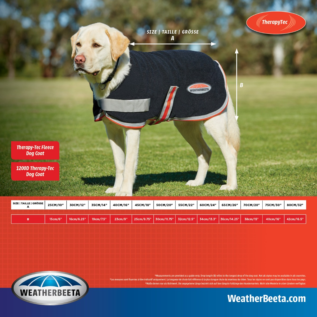 WeatherBeeta TherapyTec Dog Coat Size Chart