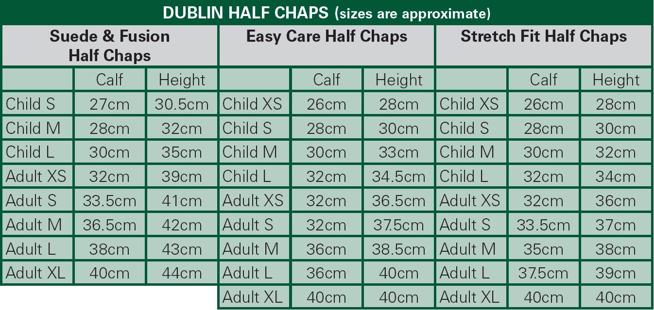 Dublin Halb-Chaps Größentabelle