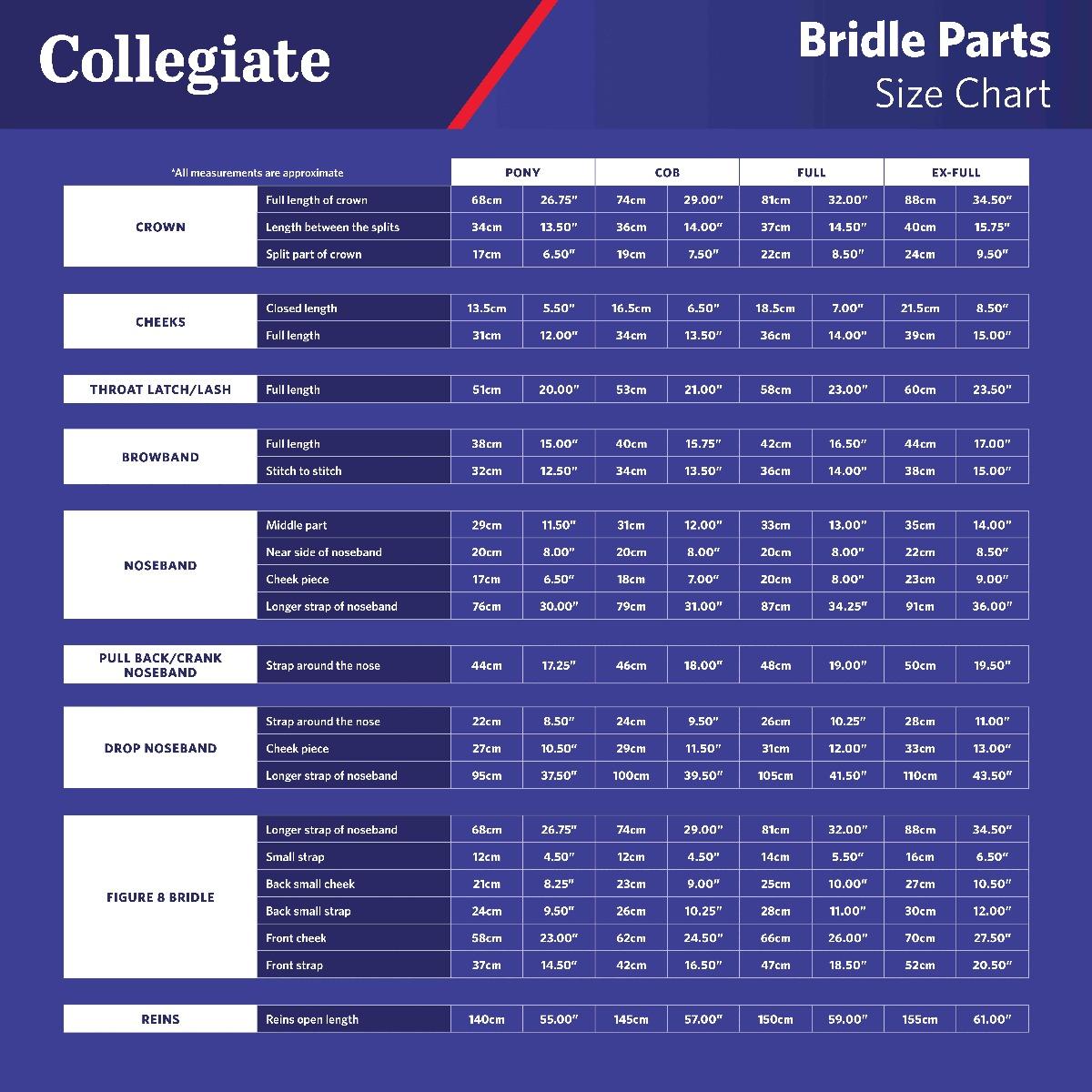 Bridle Parts Size Chart