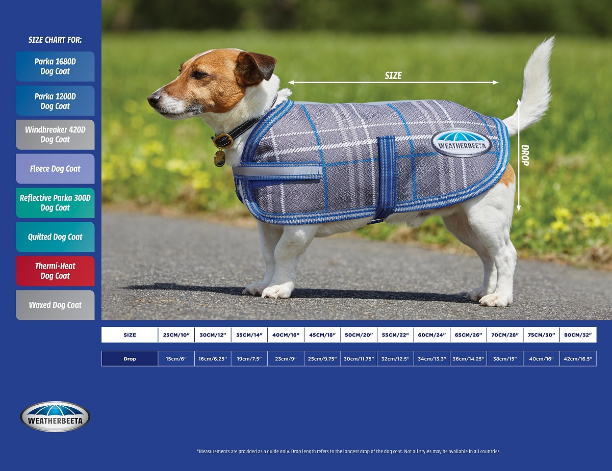 WeatherBeeta Thermic Dog Coat Size Chart