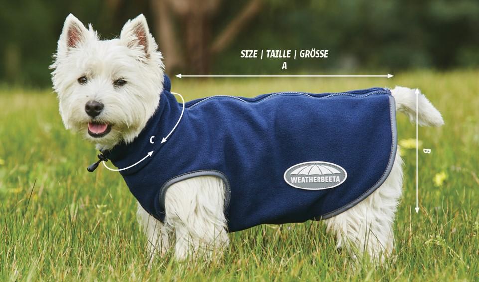 weatherbeeta fleece zip dog coat size guide diagram