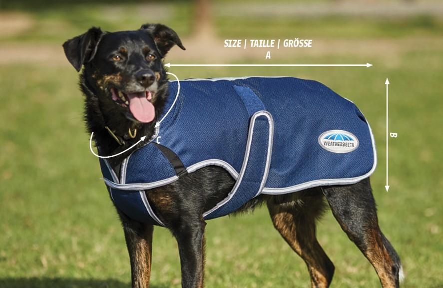 weatherbeeta comfitec premier free parka deluxe dog coat size guide diagram