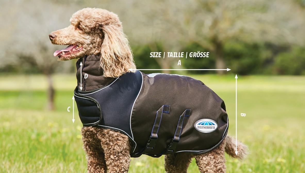 WeatherBeeta ComFiTec Ultra Cozi Dog Coat Medium/Lite size diagram